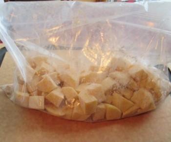 Potatoes seasoned in bag