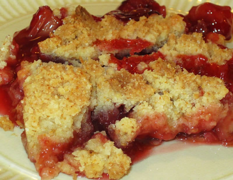 cherry rhubarb lemon crisp